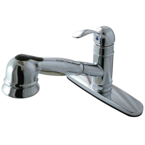 Kingston Brass GSC7571WEL Eden Single-Handle Kitchen Faucet with Pull-Out Sprayer, Polished Chrome