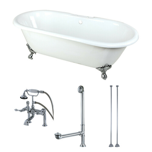 Kingston Brass KCT7D663013C1 66-Inch Cast Iron Double Ended Clawfoot Tub Combo with Faucet and Supply Lines, White/Polished Chrome