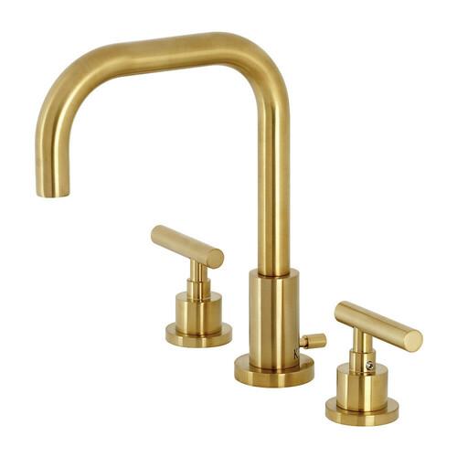 Kingston Brass FSC8933CML Manhattan Widespread Bathroom Faucet with Brass Pop-Up, Brushed Brass