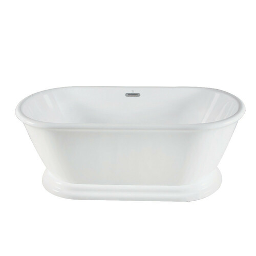 Kingston Brass VTDE602824 60-Inch Acrylic Double Ended Pedestal Tub with Square Overflow and Pop-Up Drain, White