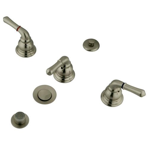 Kingston Brass KB328 Magellan Bidet Faucet with Lever Handles & Brass Pop-Up, Brushed Nickel