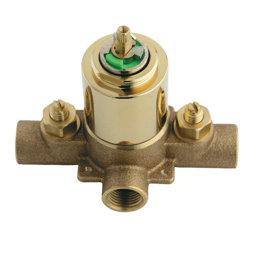 Kingston Brass KB652V Pressure Balanced Rough-In Tub and Shower Valve with Stops, Polished Brass