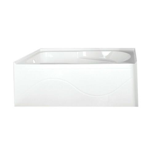 Kingston Brass VTAP603022L 60-Inch Acrylic Anti-Skid Alcove Tub with Left Hand Drain Hole, White