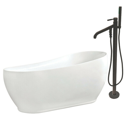 Kingston Brass KTRS723432A5 71-Inch Acrylic Single Slipper Freestanding Tub Combo with Faucet and Drain, White/Oil Rubbed Bronze