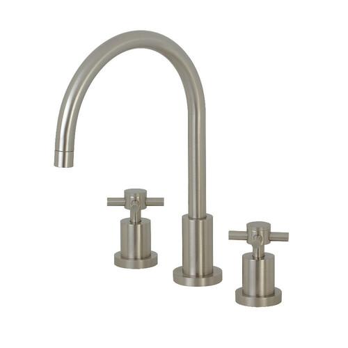 Kingston Brass KS8728DXLS Widespread Kitchen Faucet, Brushed Nickel