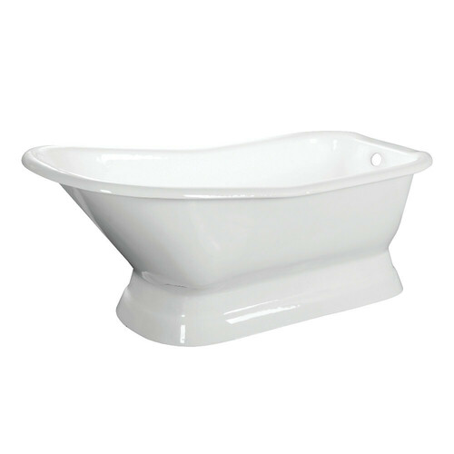 Kingston Brass VCTND663028 66-Inch Cast Iron Single Slipper Pedestal Tub (No Faucet Drillings), White