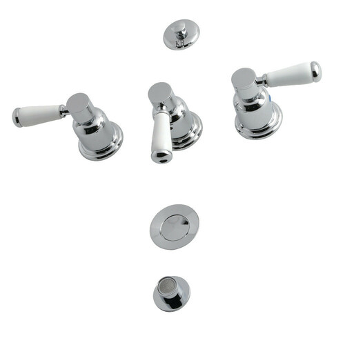 Kingston Brass KB6321DPL 3-Handle Bidet Faucet, Polished Chrome