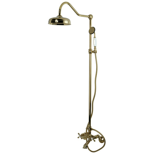 Kingston Brass CCK2662 Vintage Clawfoot Tub Faucet Package with Shower Combo, Polished Brass