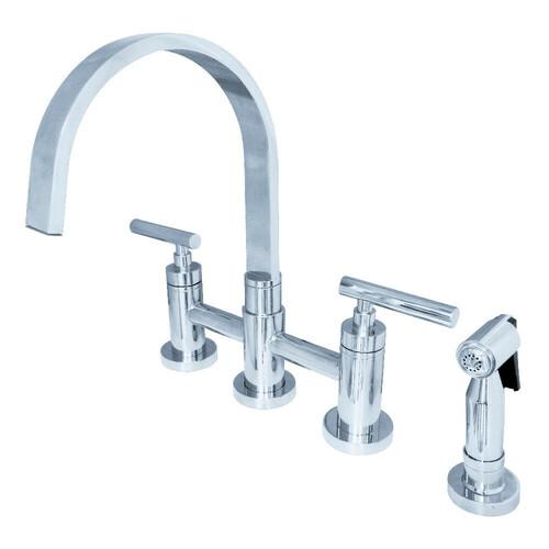 Kingston Brass KS8261CMLBS Manhattan 2-Handle Kitchen Faucet with Brass Side Sprayer, Polished Chrome
