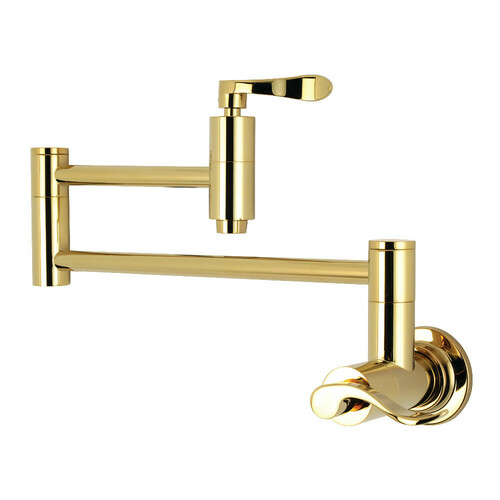 Kingston Brass KS8102DFL Wall Mount Pot Filler Kitchen Faucet, Polished Brass