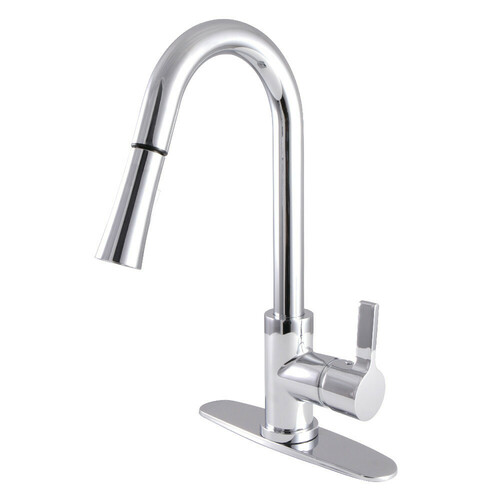Kingston Brass LS8681CTL Continental Single-Handle Pull-Down Kitchen Faucet, Polished Chrome