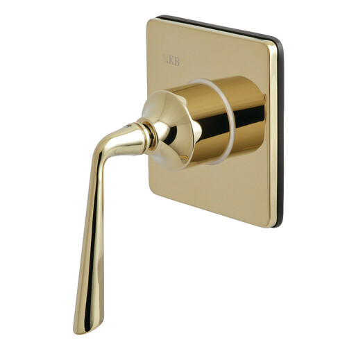 Kingston Brass KS3042ZL Three-Way Diverter Valve with Single-Handle and Square Plate, Polished Brass