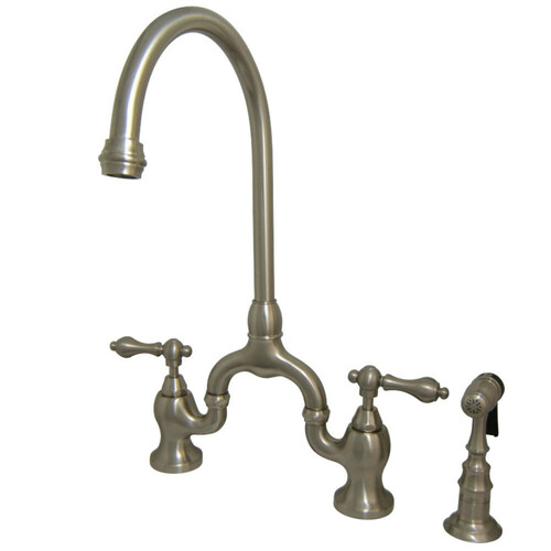 Kingston Brass KS7798ALBS English Country Kitchen Bridge Faucet with Brass Sprayer, Brushed Nickel