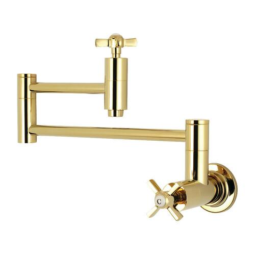 Kingston Brass KS8102ZX Millennium Wall Mount Pot Filler Kitchen Faucet, Polished Brass