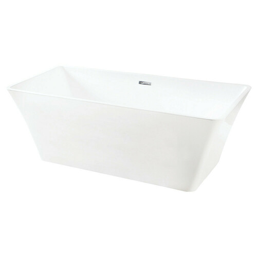 Kingston Brass VTSQ672923 67-Inch Acrylic Freestanding Tub with Drain, White