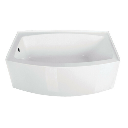 Kingston Brass VTDR603022L 60-Inch Acrylic Curved Apron Alcove Tub with Left Hand Drain Hole, White