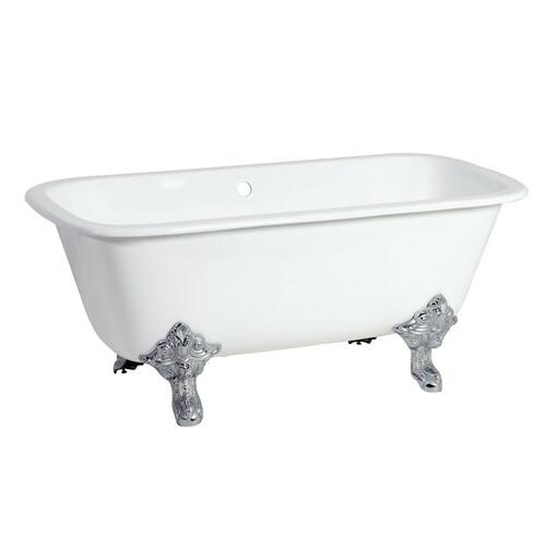 Kingston Brass VCTQND6732NL1 67-Inch Cast Iron Double Ended Clawfoot Tub (No Faucet Drillings), White/Polished Chrome