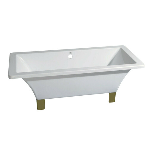 Kingston Brass VTSQ713218A2 71-Inch Acrylic Double Ended Clawfoot Tub (No Faucet Drillings), White/Polished Brass