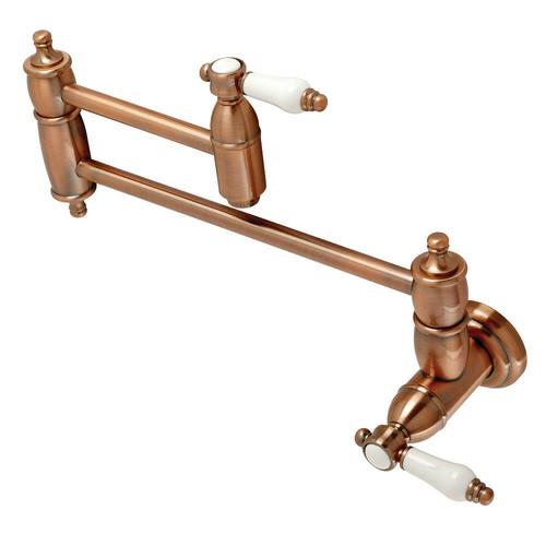 Kingston Brass KS310BPLAC Bel Air Wall Mount Pot Filler Kitchen Faucet, Antique Copper