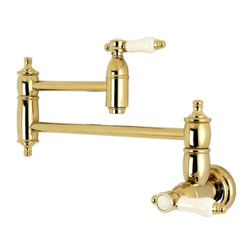 Kingston Brass KS3102BPL Bel-Air Wall Mount Pot Filler Kitchen Faucet, Polished Brass