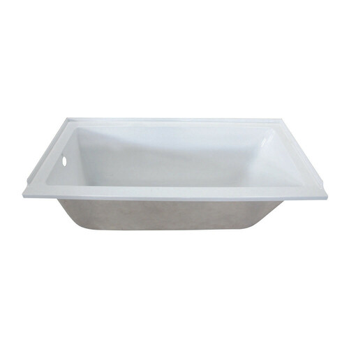 Kingston Brass VTPN603020L 60-Inch Acrylic Rectangular Drop-In Tub with Left Hand Drain Hole, White