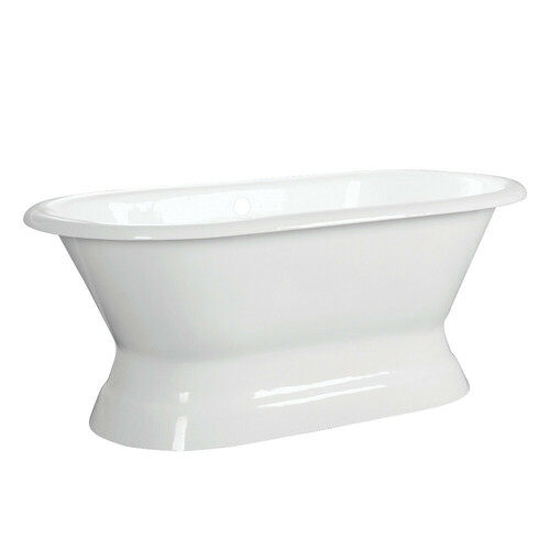 Kingston Brass VCTND663024 66-Inch Cast Iron Double Ended Pedestal Tub (No Faucet Drillings), White