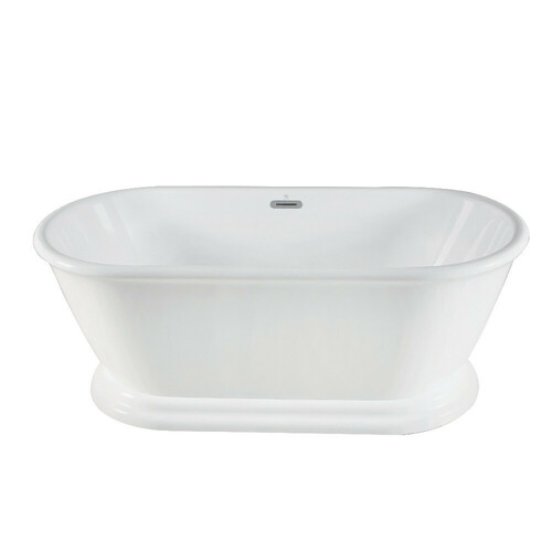 Kingston Brass VTDE663124 66-Inch Acrylic Double Ended Pedestal Tub with Square Overflow and Pop-Up Drain, White