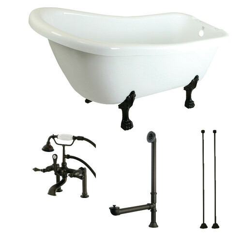 Kingston Brass KTDE692823C5 67-Inch Acrylic Single Slipper Clawfoot Tub Combo with Faucet and Supply Lines, White/Oil Rubbed Bronze