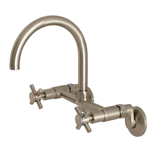Kingston Brass KS414SN Concord 8-Inch Adjustable Center Wall Mount Kitchen Faucet, Brushed Nickel