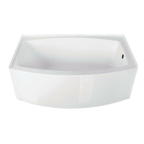 Kingston Brass VTDR603022R 60-Inch Acrylic Curved Apron Alcove Tub with Right Hand Drain Hole, White