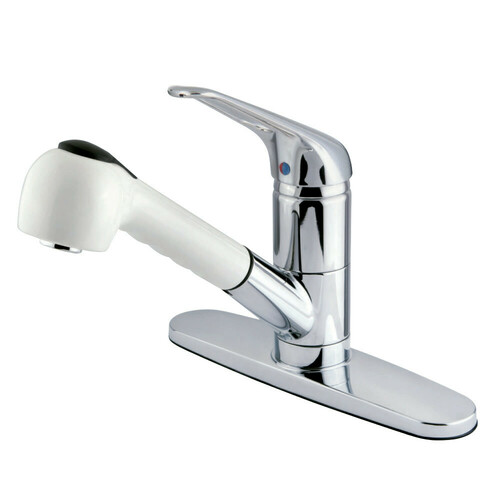 Kingston Brass GKS887CW Water Saving Legacy Pull-out Kitchen Faucet, Polished Chrome/White
