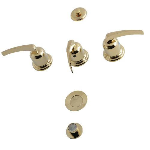 Kingston Brass KB6322EFL 3-Handle Bidet Faucet, Polished Brass