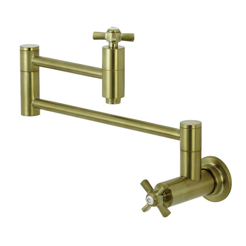 Kingston Brass KS8107ZX Millennium Wall Mount Pot Filler Kitchen Faucet, Brushed Brass