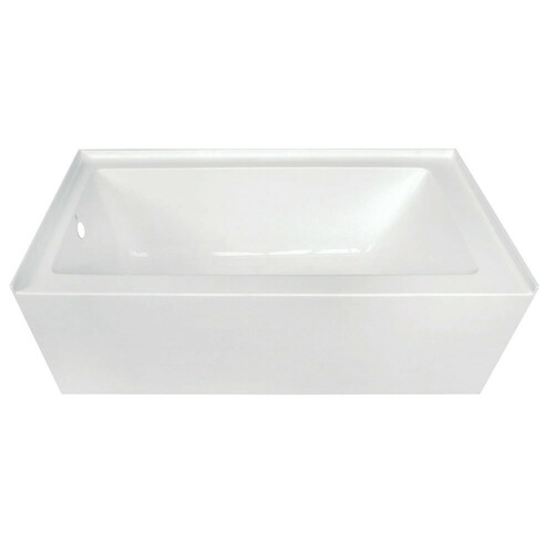Kingston Brass VTDE603122L 60-Inch Acrylic Alcove Tub with Left Hand Drain Hole, White