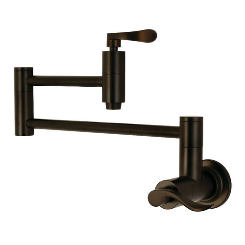 Kingston Brass KS8105DFL Wall Mount Pot Filler Kitchen Faucet, Oil Rubbed Bronze