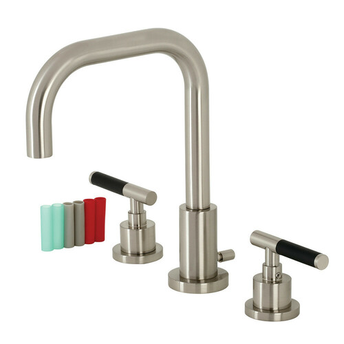 Kingston Brass FSC8938CKL Kaiser Widespread Bathroom Faucet with Brass Pop-Up, Brushed Nickel
