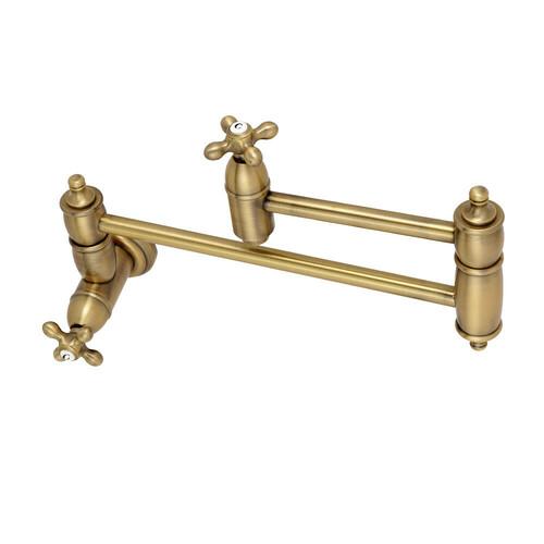 Kingston Brass KS3103AX Restoration Wall Mount Pot Filler Kitchen Faucet, Antique Brass