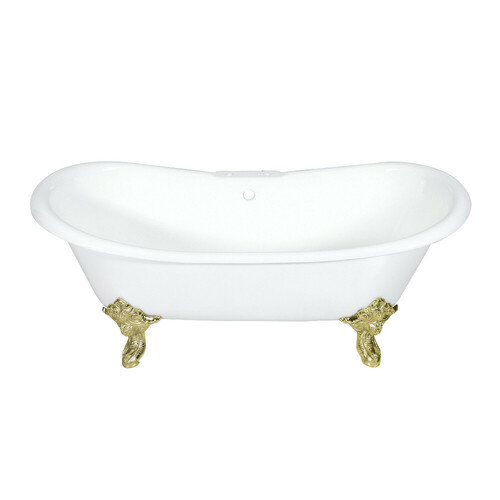 Kingston Brass VCT7DS7231NL2 72-Inch Cast Iron Double Slipper Clawfoot Tub with 7-Inch Faucet Drillings, White/Polished Brass