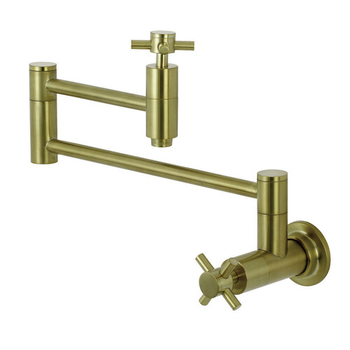 Kingston Brass KS8107DX Concord Wall Mount Pot Filler Kitchen Faucet, Brushed Brass