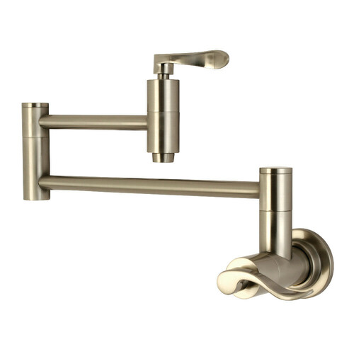 Kingston Brass KS8108DFL Wall Mount Pot Filler Kitchen Faucet, Brushed Nickel