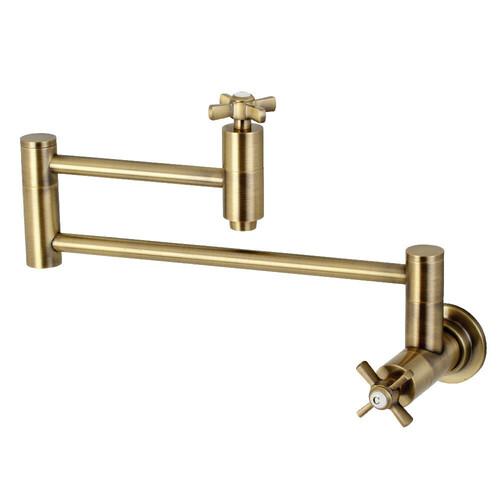 Kingston Brass KS8103ZX Millennium Wall Mount Pot Filler Kitchen Faucet, Antique Brass