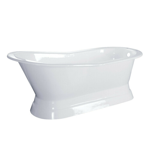 Kingston Brass VCTND673128 67-Inch Cast Iron Single Slipper Pedestal Tub (No Faucet Drillings), White
