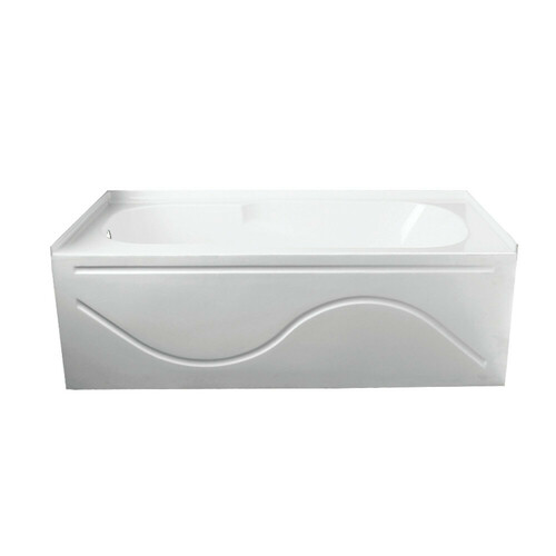 Kingston Brass VTAP603216L 60-Inch Acrylic Anti-Skid Alcove Tub with Left Hand Drain Hole, White