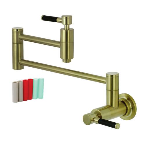 Kingston Brass KS8107DKL Concord Wall Mount Pot Filler Kitchen Faucet, Brushed Brass