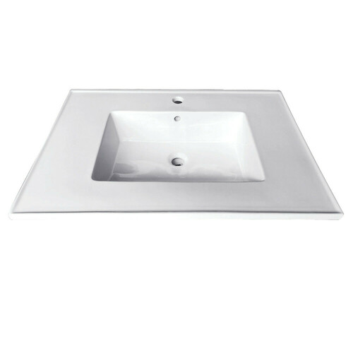Kingston Brass LBT252271 Continental 25-Inch X 22-Inch Ceramic Vanity Top with Integrated Basin 1H, White