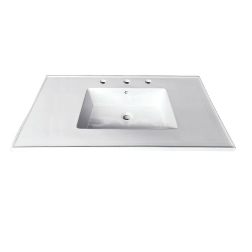 Kingston Brass LBT31227W38 Continental 31-Inch X 22-Inch Ceramic Vanity Top with Integrated Basin 3H, White