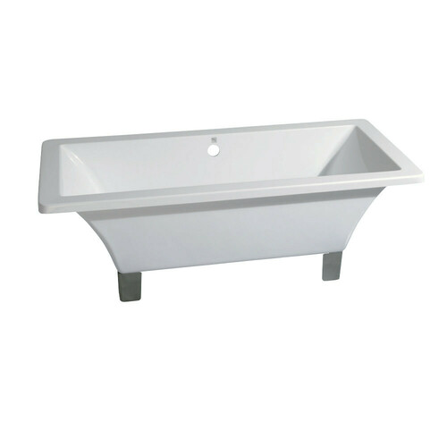 Kingston Brass VTSQ713218A8 71-Inch Acrylic Double Ended Clawfoot Tub (No Faucet Drillings), White/Brushed Nickel