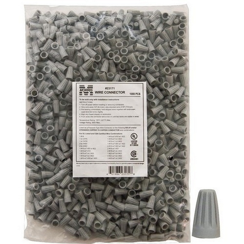 Morris 23171 Screw-On Wire Connectors P1 Gray Bagged 1000 Bulk Pack