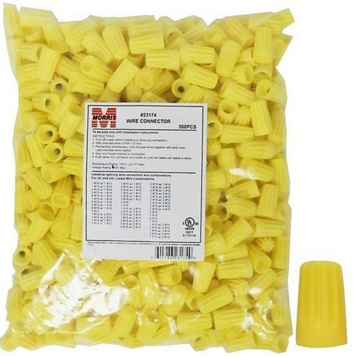 Morris 23174 Screw-On Wire Connectors P4 Yellow Bagged 500 Bulk Pack