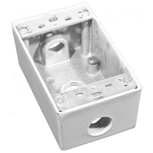 Morris 36002 Weatherproof Boxes - One Gang 18.3 Cubic Inch Capacity - 3 Outlet Holes 1/2